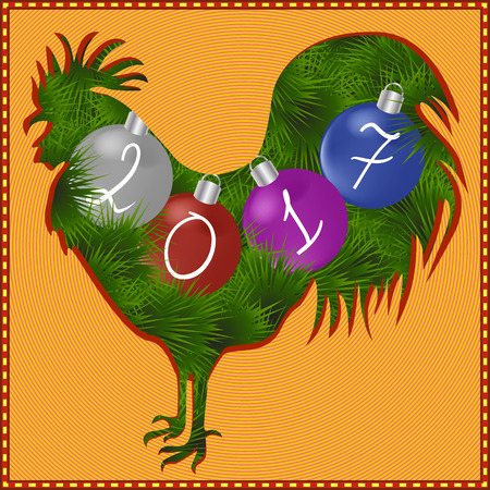 Postcard for new year (2017). Rooster - a symbol of the year on the Eastern Chinese horoscope. Christmas tree. Christmas decorations.