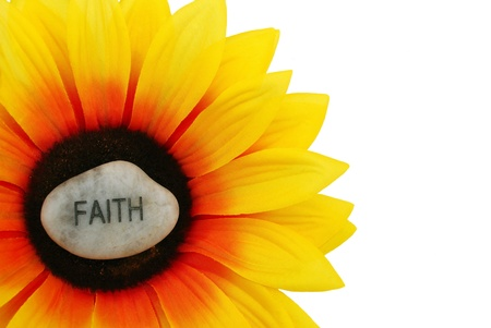 Sunflowers - even artificial ones - shine brightly. Faith shines brightly on this sunflower. Stock fotó