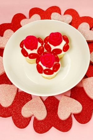 An abundant heart-shaped dessert presentation for romantic messages such as weddings, anniversaries and Valentines Day wishes.