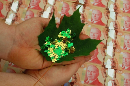 canadian currency: Money-shaped confetti held on a Maple leaf over Canadian currency - to illustrate wealth, investing or other money concepts  Stock Photo