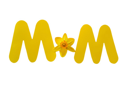 diecut: This Mothers Day photo uses two yellow die-cut paper letters and a daffodil to spell the word Mom. Image is isolated on a white background.