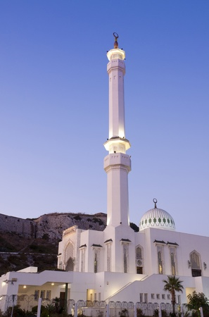 gibraltar: A night scene of the Mosque in Gibraltar. Stock Photo