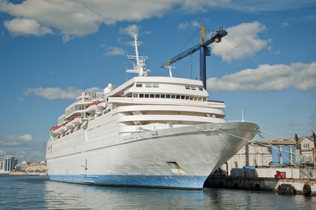 luxury liner: A Cruise Liner docked up in a dockyard in the Med.