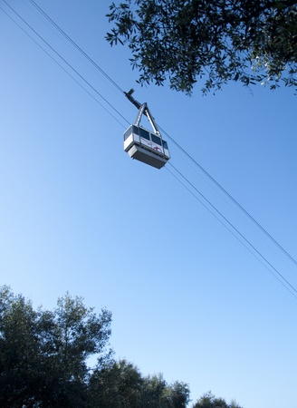 portage: A ground shot of a cable car travelling up towards the sky Stock Photo