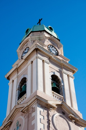 The Cathederal of Gibraltar Bell Tower in the morning sunshine. Stock Photo