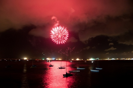A firework display on Gibratlar National Day in the Bay of Gibraltar