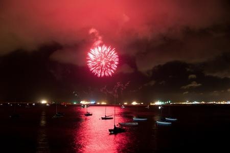 A firework display on Gibratlar National Day in the Bay of Gibraltar