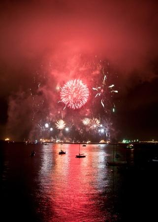 boat party: Gibraltar National Day celebrational firework display September 2010. Stock Photo