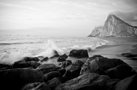 The British Rock of Gibraltar standing proud - view from Spain.
