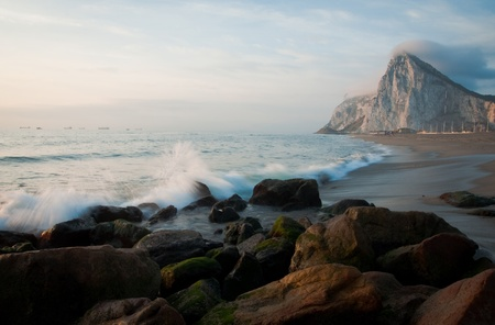 A spanish beach boardering Gibraltar