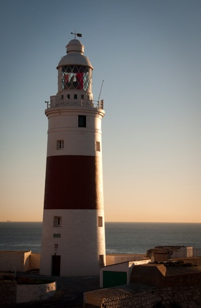 europa: Gibraltars famous Lighthouse overlooking the Straits of Gibraltar