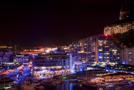 nightscene: The famous marina in Gibraltar (Ocean Village) at night.