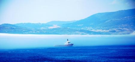 coastguard: View from Gibraltar across the bay. Stock Photo