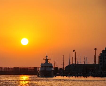 Sunrise at the Gibraltar Marina Stock Photo