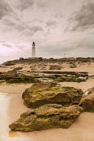 The lighthouse near Cadiz where the great battle of Trafalgar took place. Stock Photo - 13485675