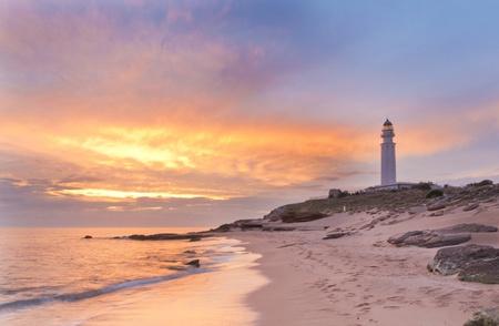 The lighthouse near Cadiz where the great battle of Trafalgar took place.