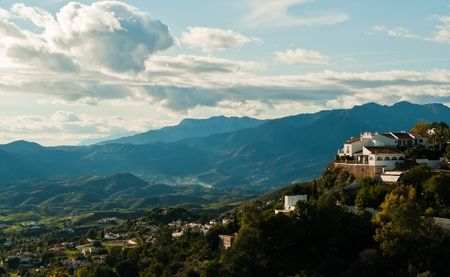 This landscape view is taken from Mijas (Southern Spain). Stock Photo
