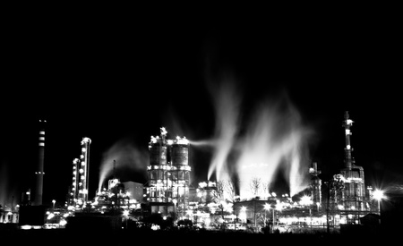 A black   white shot taken of the refinery in the Bay of Gibraltar