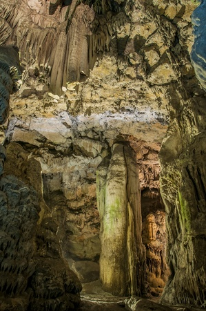 The ceiling of St Michaels cave in Gibraltar showing an array of stalactites   stalagmites  Stock Photo - 13485875