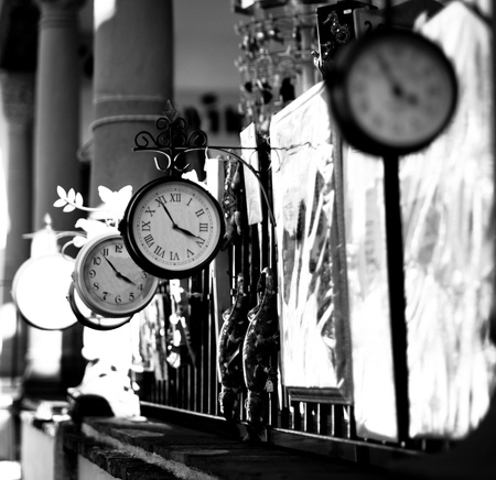 7 9 years: A selection of London Railway clocks for sale outside a shop in Southern Spain.