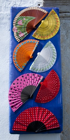 spanish culture: A display of fans outside a shop in southern Spain