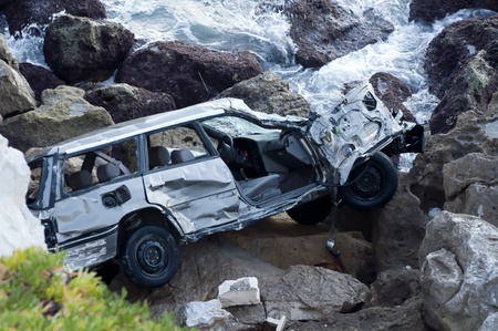 The result of a drink and drive accident in Gibraltar. Stock Photo - 13571696