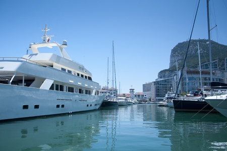 A view from the entery point at the Gibraltar marina Ocean Village Stock Photo