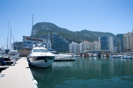 The Ocean Village Marina in Gibraltar with a selection of sailboats