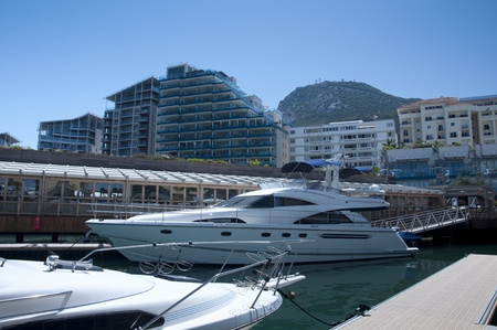 gibraltar: A marina side view of the Ocean Village complex Gibraltar. Stock Photo