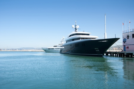 A super yacht berthed in Gibraltars world famous Ocean Village complex.