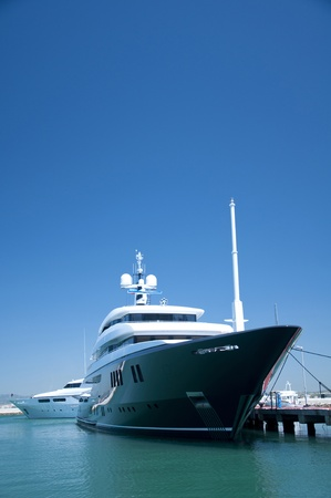 super yacht: A super yacht berthed in Gibraltars world famous Ocean Village complex.