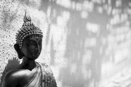 A Black and White image of a Thai Buddha statue