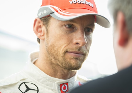 JEREZ (Spain) - FEBRUARY 11th: Jenson Button giving an interview at the first Test at the Jerez Circuit, Andalucia Spain 2013. Editorial