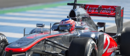 JEREZ (Spain) - FEBRUARY 11th: Jenson Button testing his new McLaren MP4-28 F1 car on the first Test at the Jerez Circuit, Andalucia Spain 2013. Editorial