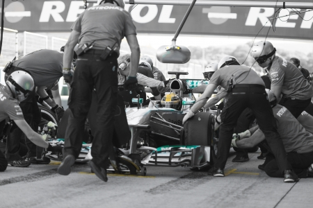 JEREZ (Spain) - FEBRUARY 11th: Lewis Hamilton practicing PitStops with his new Mercedes team on the first Test at the Jerez Circuit, Andalucia Spain 2013.