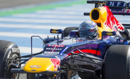 JEREZ (Spain) - FEBRUARY 11th: Sebastian Vettel testing his new Red Bull Racing RB9 F1 car on the first Test at the Jerez Circuit, Andalucia Spain 2013. Editorial
