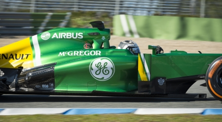 sterring: JEREZ (Spain) - FEBRUARY 10th: Giedo van der Garde testing his new Caterham F1 car on the first Test at the Jerez Circuit, Andalucia Spain 2013.