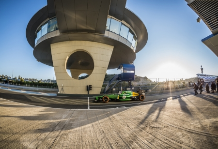 JEREZ (Spain) - FEBRUARY 10th: Giedo van der Garde testing his new Caterham F1 car on the first Test at the Jerez Circuit, Andalucia Spain 2013.