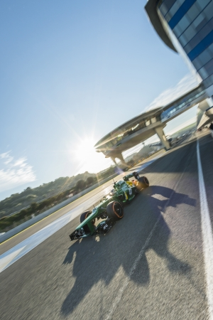 JEREZ (Spain) - FEBRUARY 10th: Charles Pic testing his new Caterham F1 car on the first Test at the Jerez Circuit, Andalucia Spain 2013. Editorial