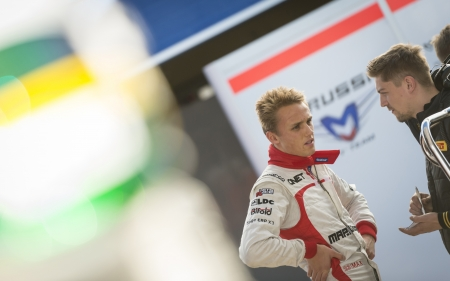 JEREZ (Spain) - FEBRUARY 10th: Max Chilton talking to his team on the first Test at the Jerez Circuit, Andalucia Spain 2013.