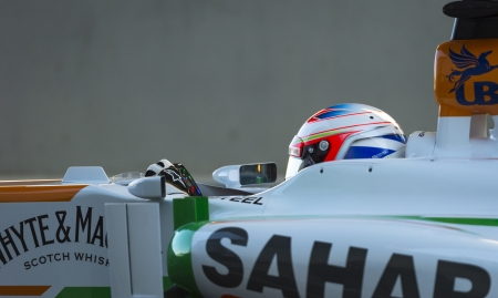 JEREZ (Spain) - FEBRUARY 10th: Paul di Resta testing his new Force India F1 car on the first Test at the Jerez Circuit, Andalucia Spain 2013.