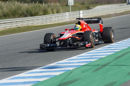 sterring: JEREZ (Spain) - FEBRUARY 10th: Luiz Razia testing his new Marussia F1 car on the first Test at the Jerez Circuit, Andalucia Spain 2013.