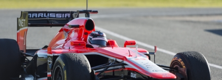 sterring: JEREZ (Spain) - FEBRUARY 10th: Max Chilton testing his new Marussia F1 car on the first Test at the Jerez Circuit, Andalucia Spain 2013. Editorial