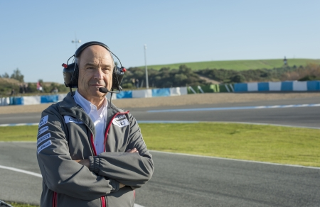 sauber: JEREZ (Spain) - FEBRUARY 10th: Peter Sauber Team Principal of Sauber F1 Team looking out for his new F1 car on the first Test at the Jerez Circuit, Andalucia Spain 2013.