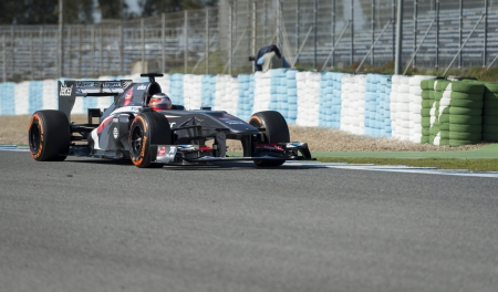 JEREZ (Spain) - FEBRUARY 10th: NICO HULKENBERG testing his new Sauber F1 car on the first Test at the Jerez Circuit, Andalucia Spain 2013. Editorial