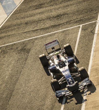 JEREZ (Spain) - FEBRUARY 10th: Valtteri Bottas testing his new Williams FW35 F1 car on the first Test at the Jerez Circuit, Andalucia Spain 2013.