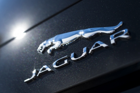 QUEENSWAY QUAY, GIBRALTAR - NOVEMBER 12  Jaguar Badge on November 12, 2013 in Queensway Quay, Gibraltar  Founded in 1922 Jaguar is a British luxury car manufacturer based in Coventry, England  Editorial