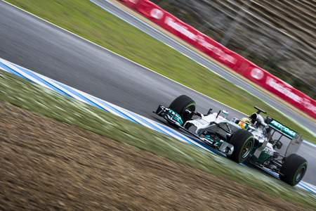 JEREZ, SPAIN - JANUARY 31  Lewis Hamilton testing his new Mercedes W05 F1 car on the first Test at the Jerez Circuit in Jerez, Andalucia, Spain on Jan  31, 2014