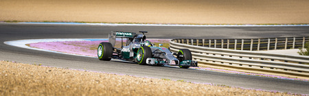 JEREZ, SPAIN - JANUARY 31: Nico Rosberg testing his new Mercedes W05 F1 car on the first Test at the Jerez Circuit in Jerez, Andalucia, Spain on Jan. 31, 2014. Editorial