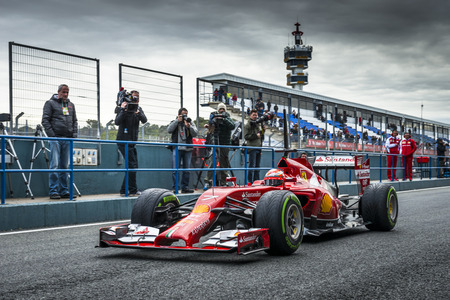 JEREZ, SPAIN - JANUARY 31: Kimi Raikkonen testing his new Ferrari F14 T F1 car on the first Test at the Jerez Circuit in Jerez, Andalucia, Spain on Jan. 31, 2014.
